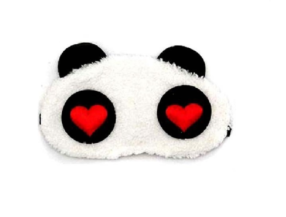 Маска за сън панда със сърца