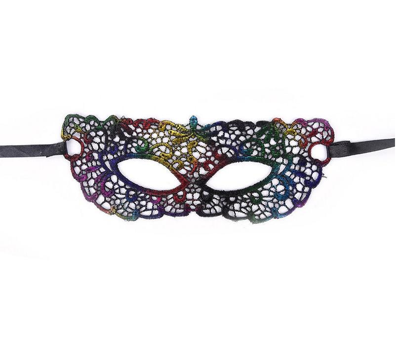 Дантелена цветна маска за парти