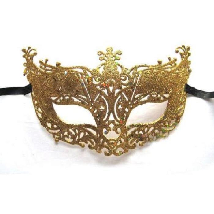Хелоуин маска със златен брокат