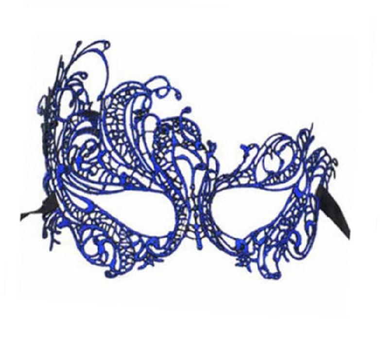 Синя дантелена маска