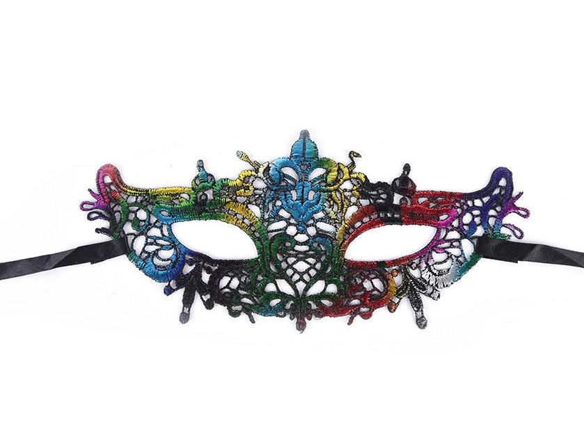 Цветна дантела маска за парти