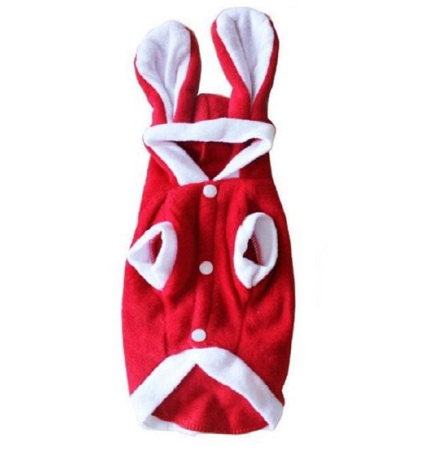 Заешки костюм за куче в червено