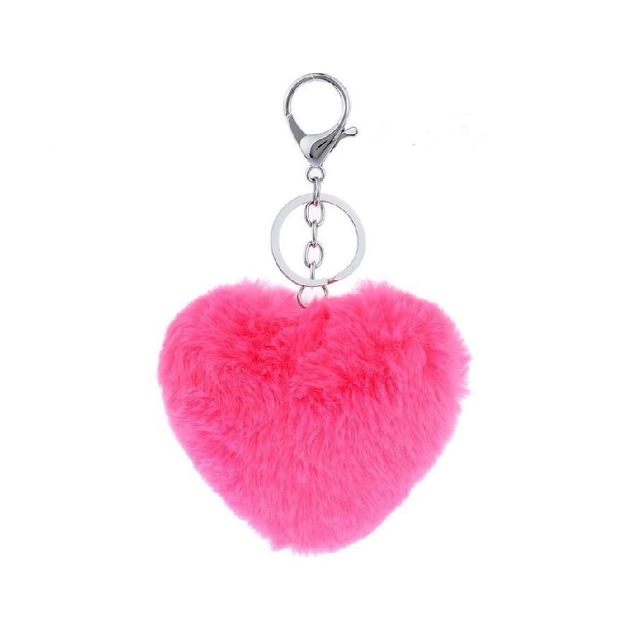 Ключодържател сърце - електриково розов