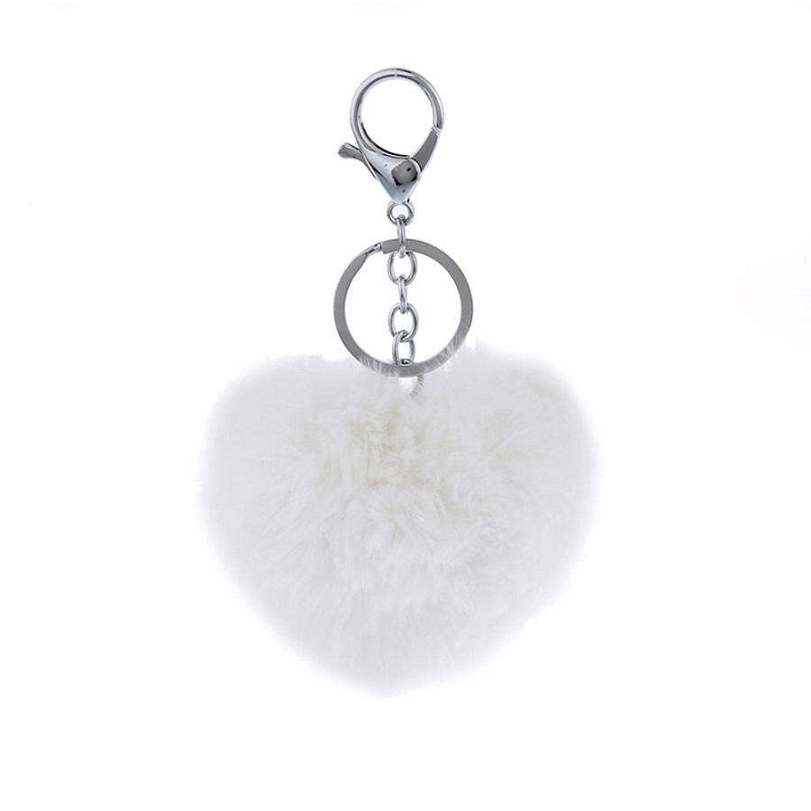 Сърце ключодържател - бял