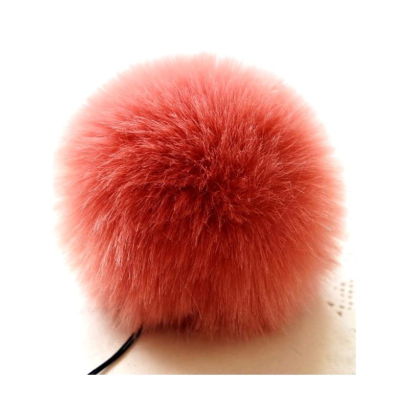 Заешка опашка коралов цвят пом-пон