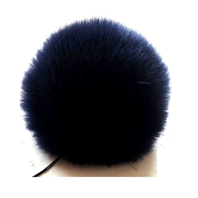 Заешка опашка тъмно син помпон