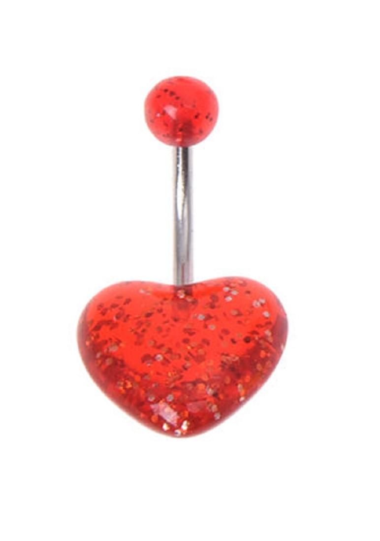 Обеца за пъп червено сърце