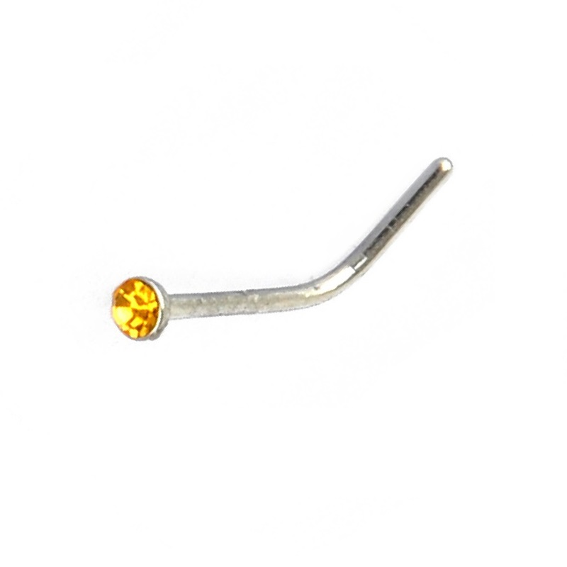Жълт кристал обеца за нос