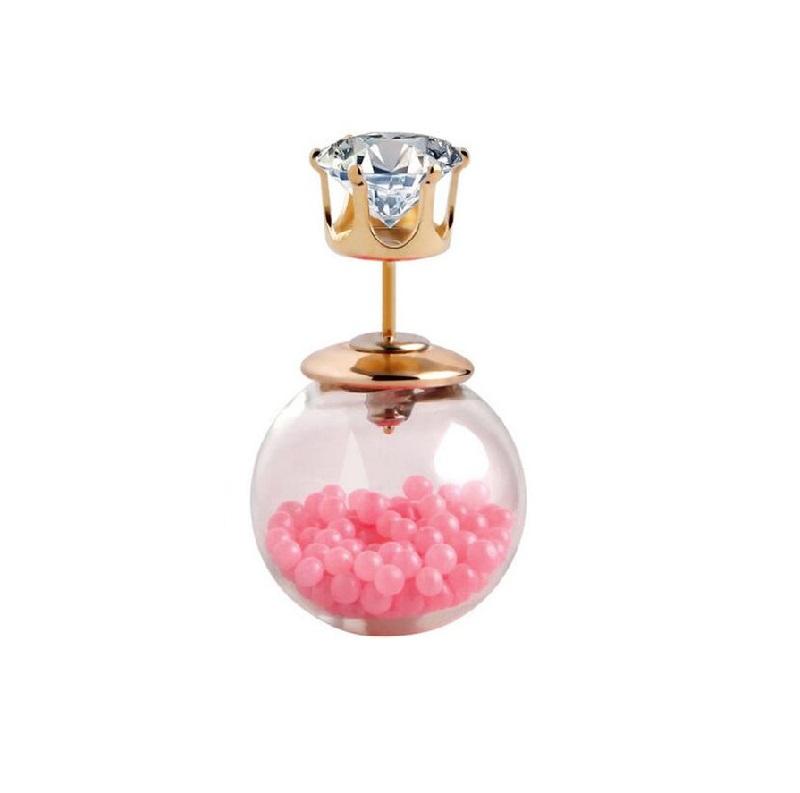 Двустранна стъклена обеца с кристал