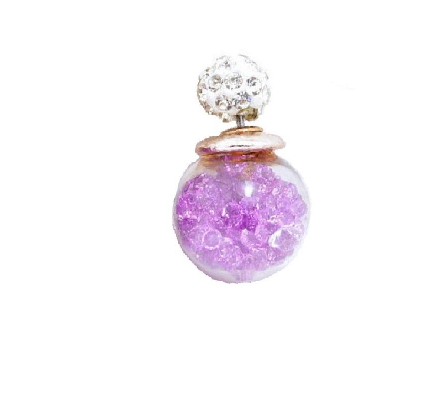 Обеца маракас с лилави кристалчета