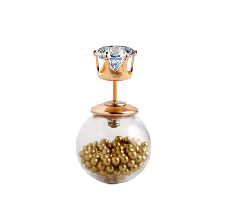 Обеца маракас със златни мини перли