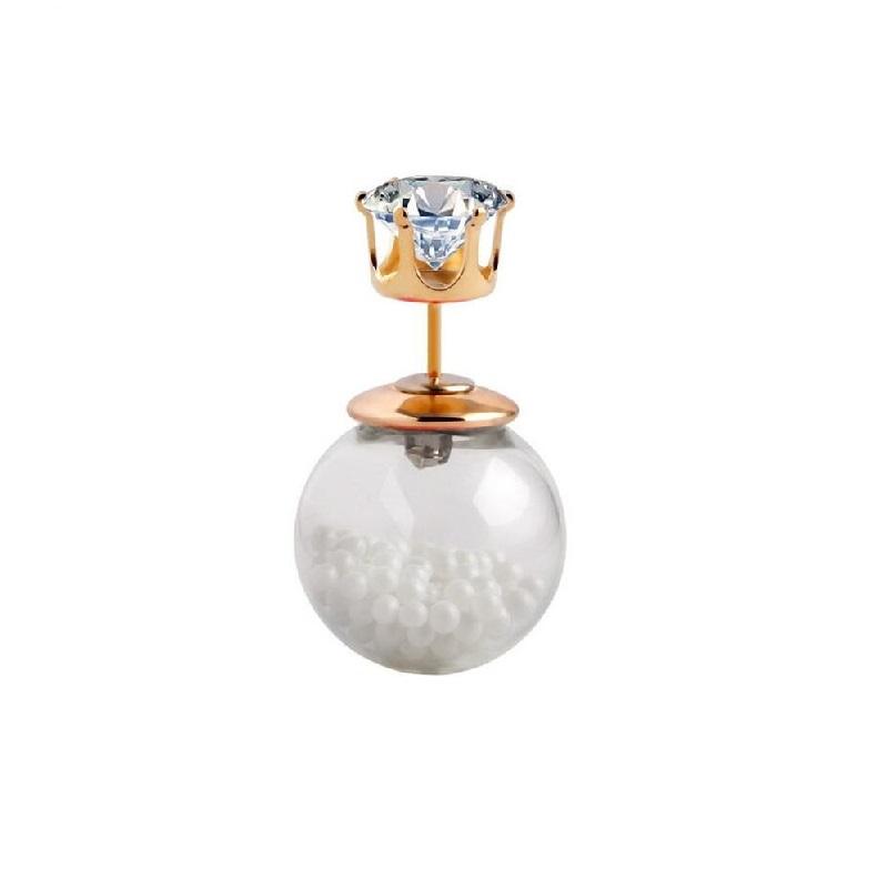 Обеца с бели мини перли