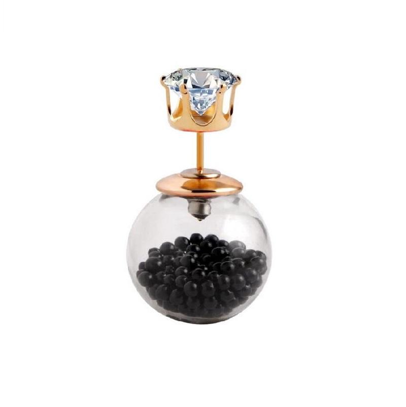 Обеца с черни перли