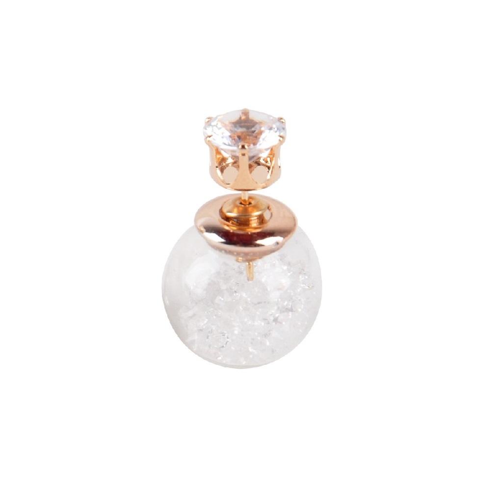 Обеца със стъклена топка и прозрачни кристали