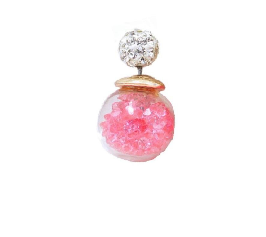 Обеца за ухо с розови кристали