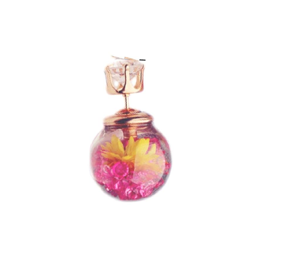 Стъклена обеца с камъни и цвете