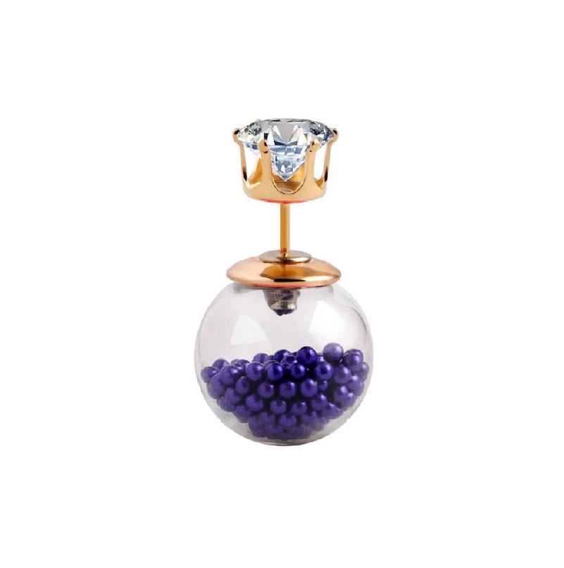 Стъклена обеца с мини перли