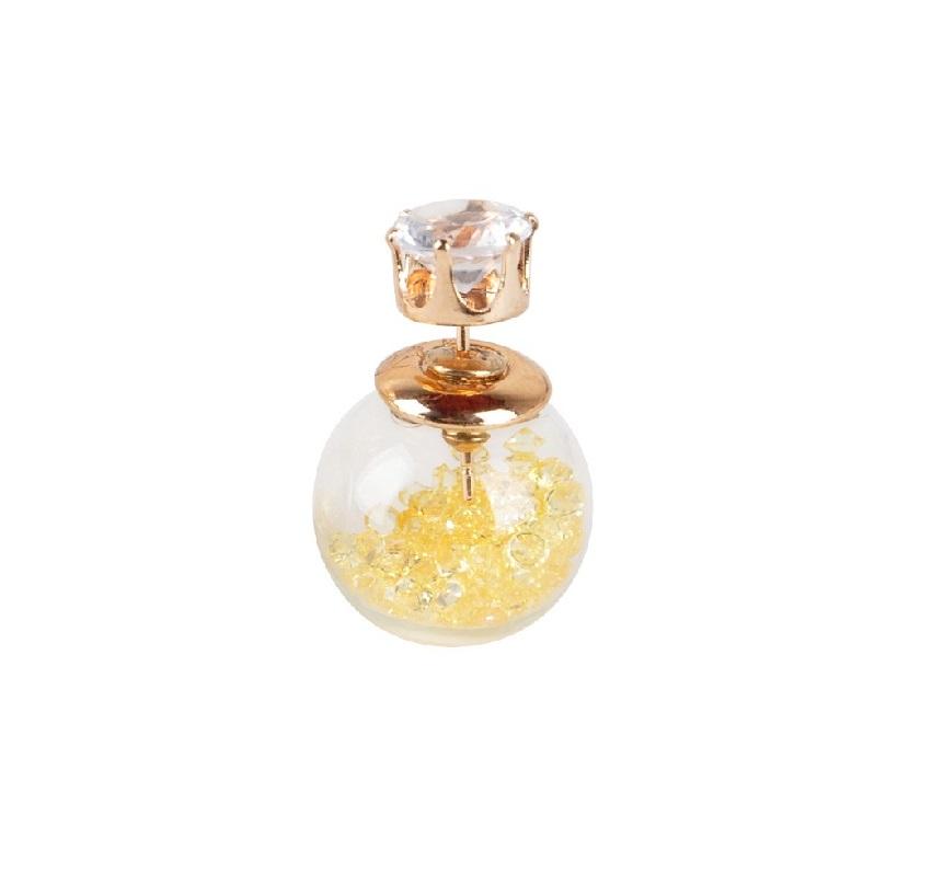 Стъклена обеца с жълти камъни