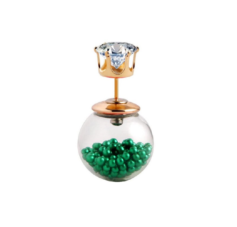 Стъклена обеца със зелени топчета