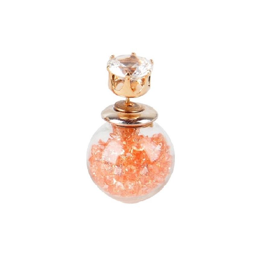 Стъклена топка обеца с камъни