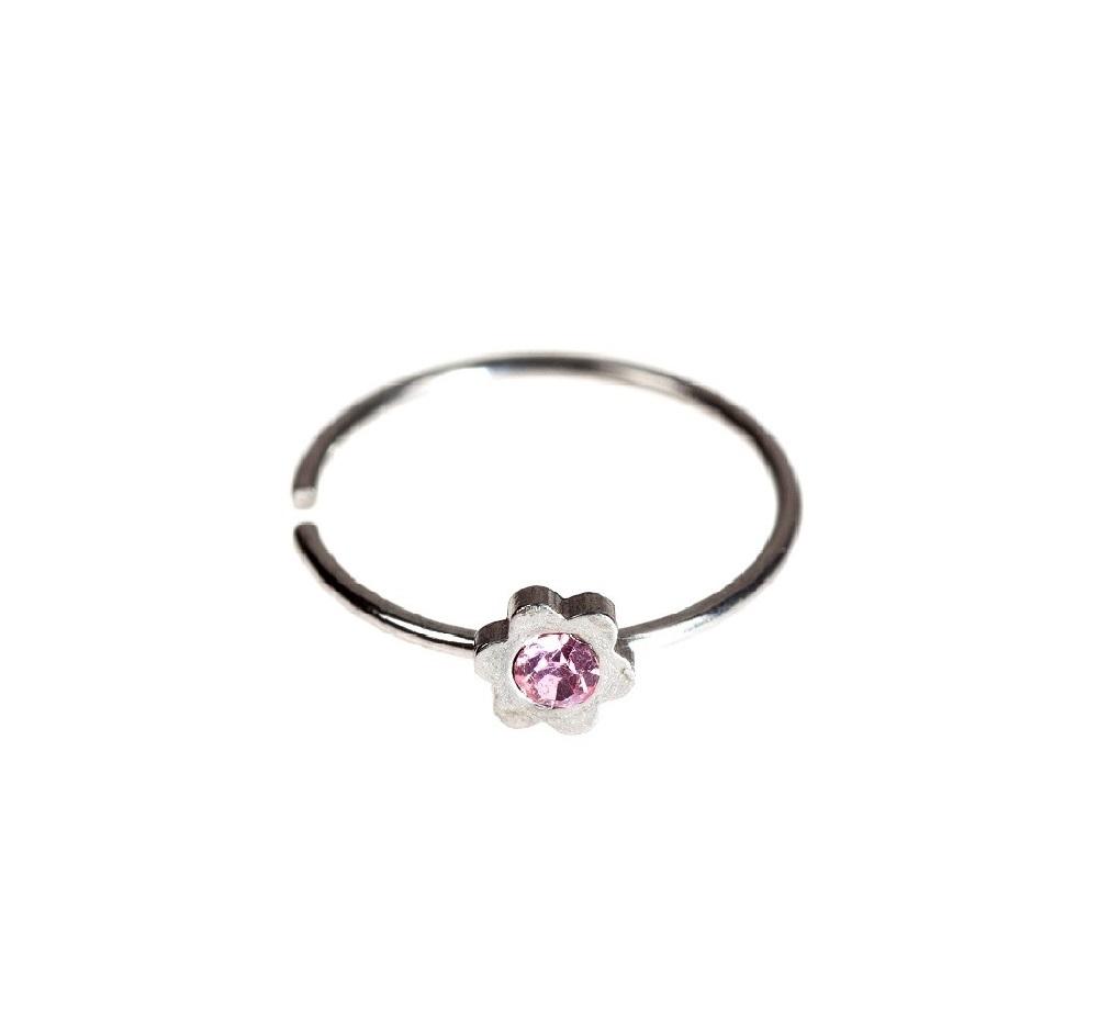 Фалшива обеца цвете с розов кристал