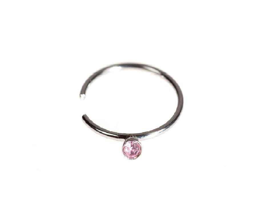 Фалшива обеца за зърно с розов кристал