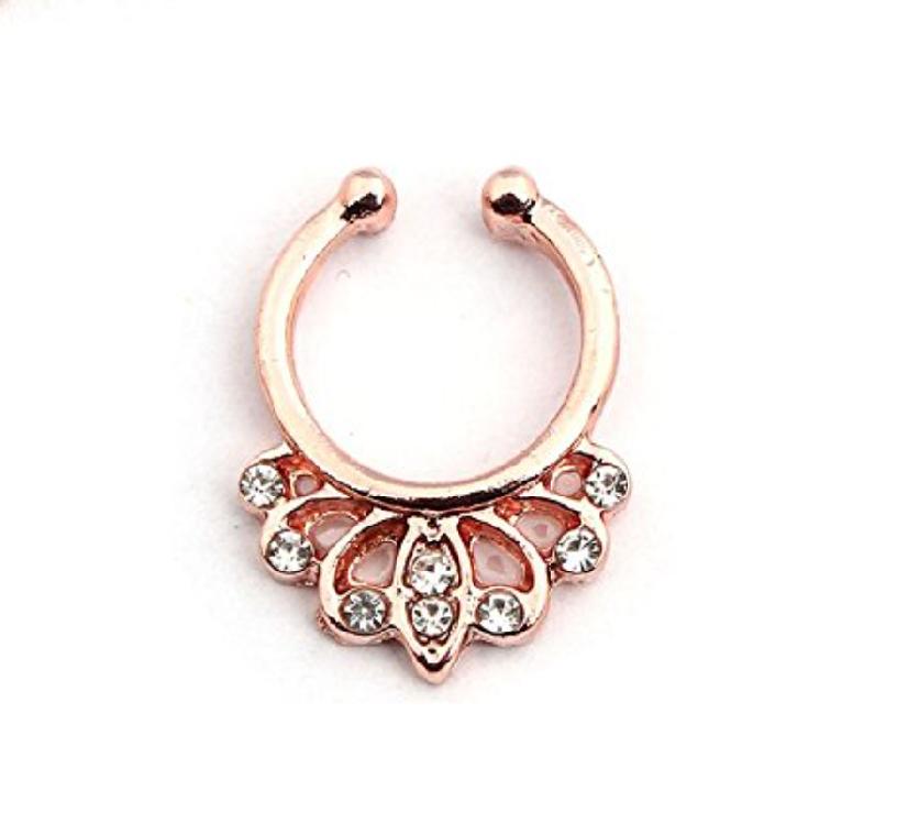 Индийска обеца розово злато имитация
