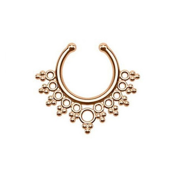 Индийски стил обеца имитация на розово злато