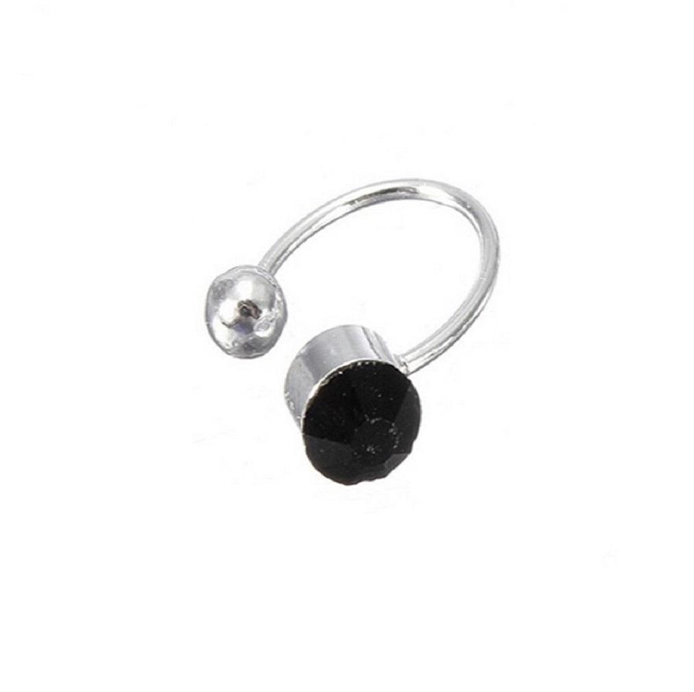 Клип обеца с черен кристал