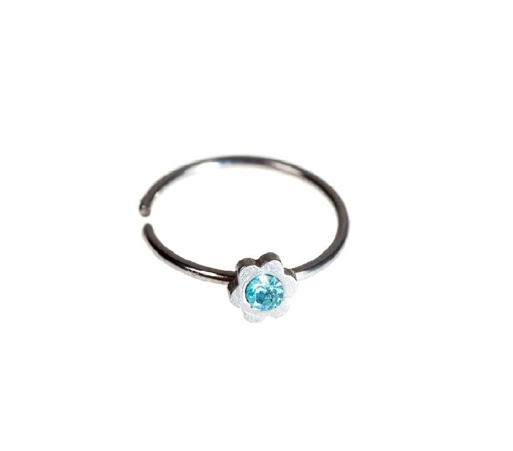 Малка халка с цвете и синьо камъче