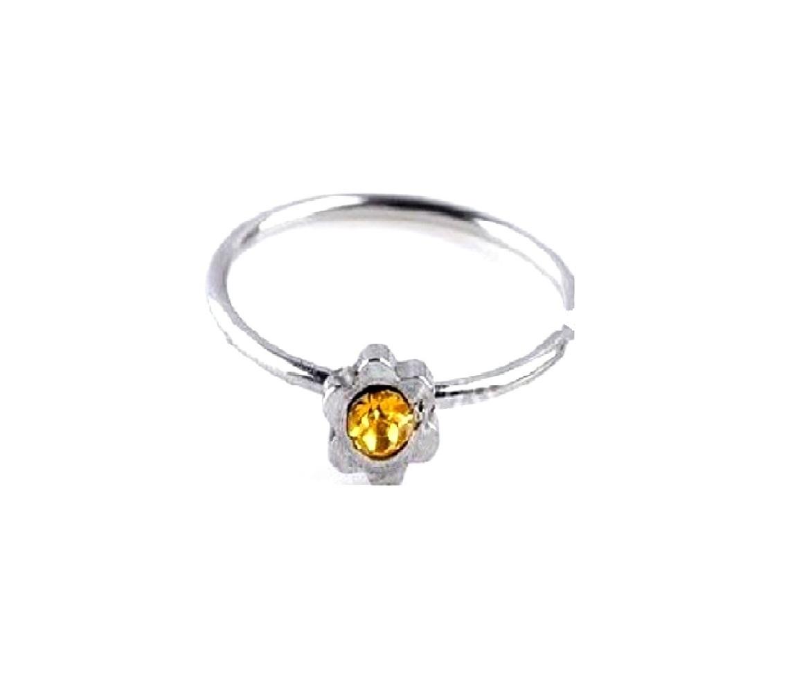 Стоманена обеца с жълт камък в цвете