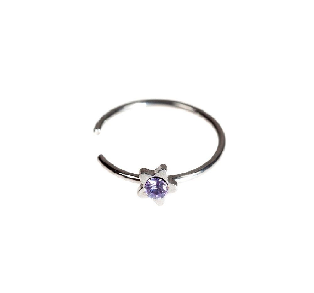 Звезда с лилав камък фалшива обеца