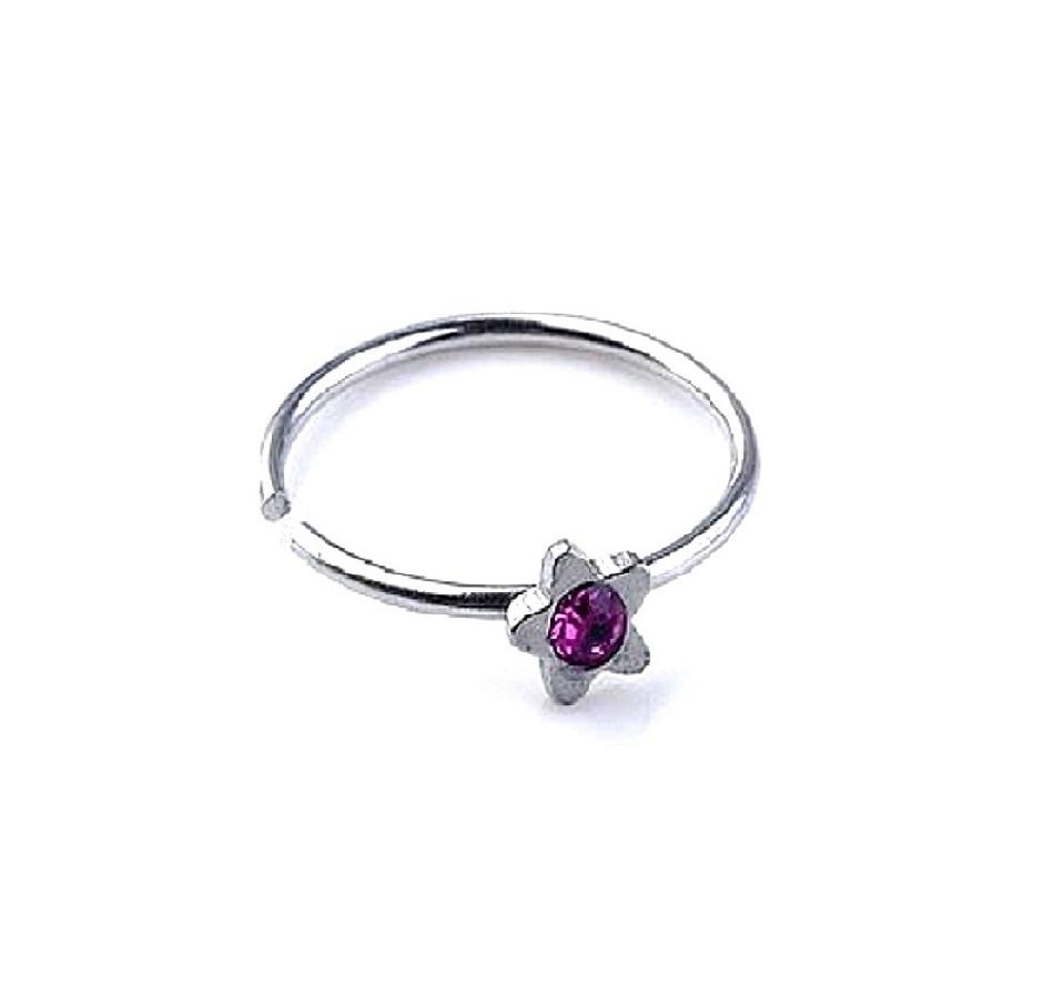 Звезда с тъмно лилав камък фалшива обеца