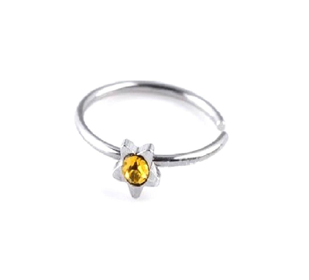 Звезда с жълт камък фалшива обеца