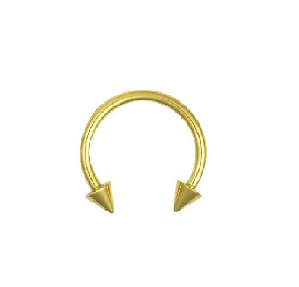 Златна подкова обеца с шипове