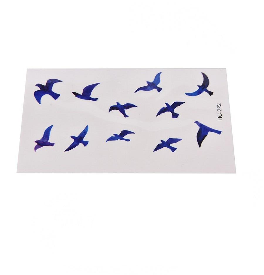 Дамска временна татуировка сини птици