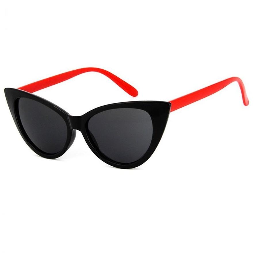 Котешки слънчеви очила със странични червени рамки