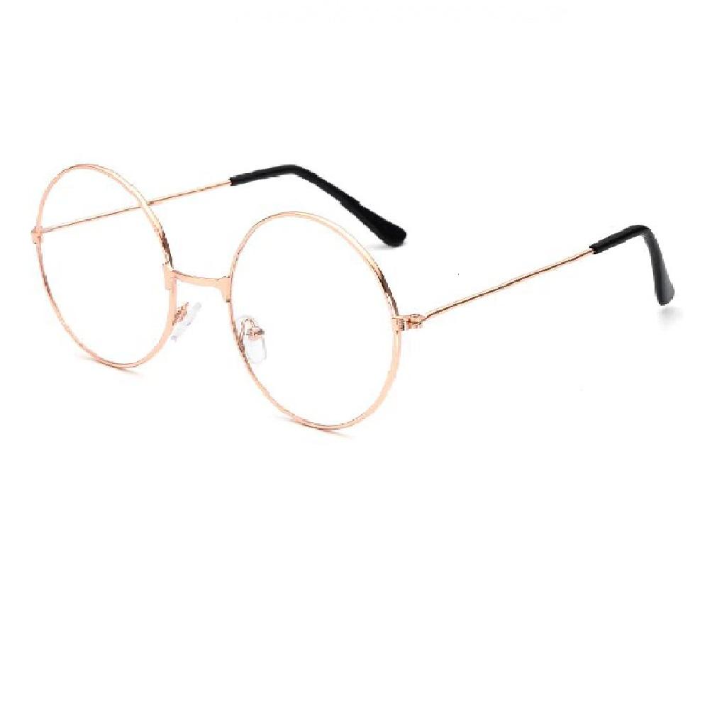Кръгли светло жълти очила с прозрачни стъкла