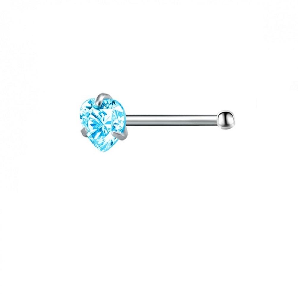 Мини обица за носа със светло син кристал сърце