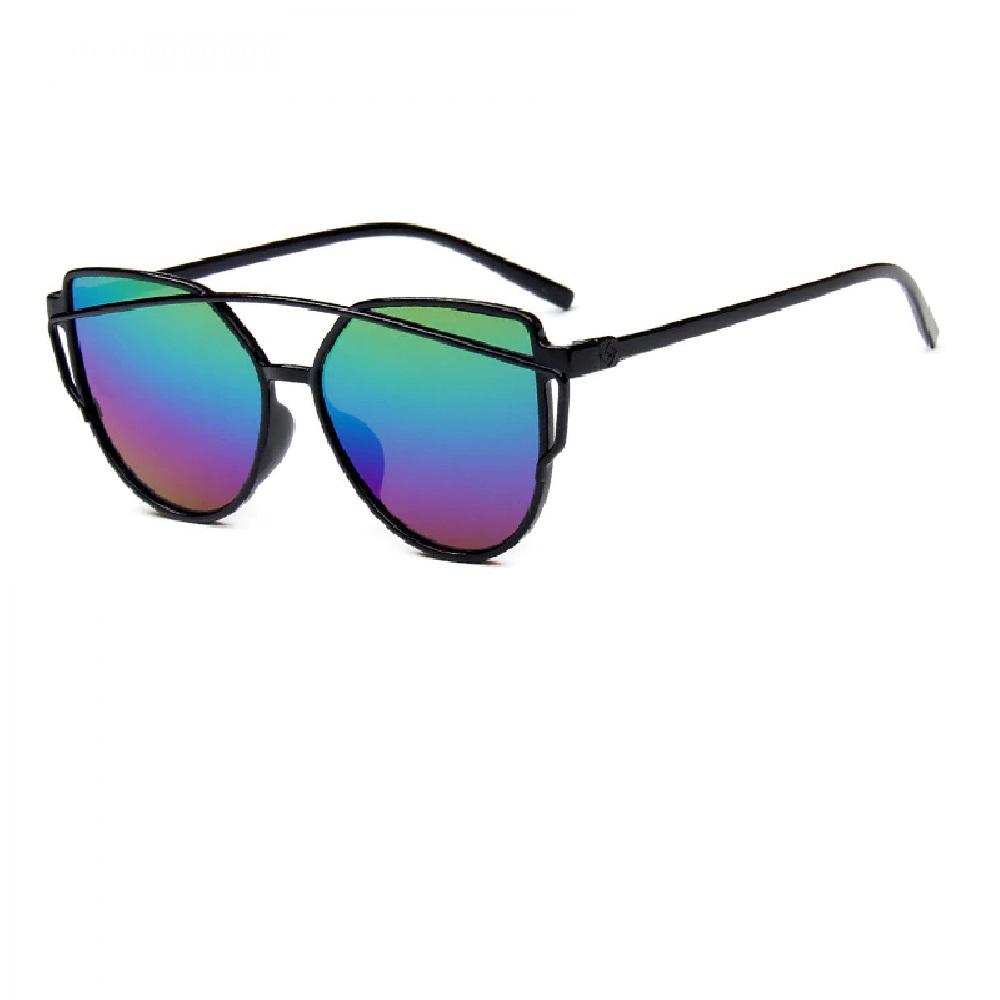 Огледални шарени котешки очила с кръгъл дизайн