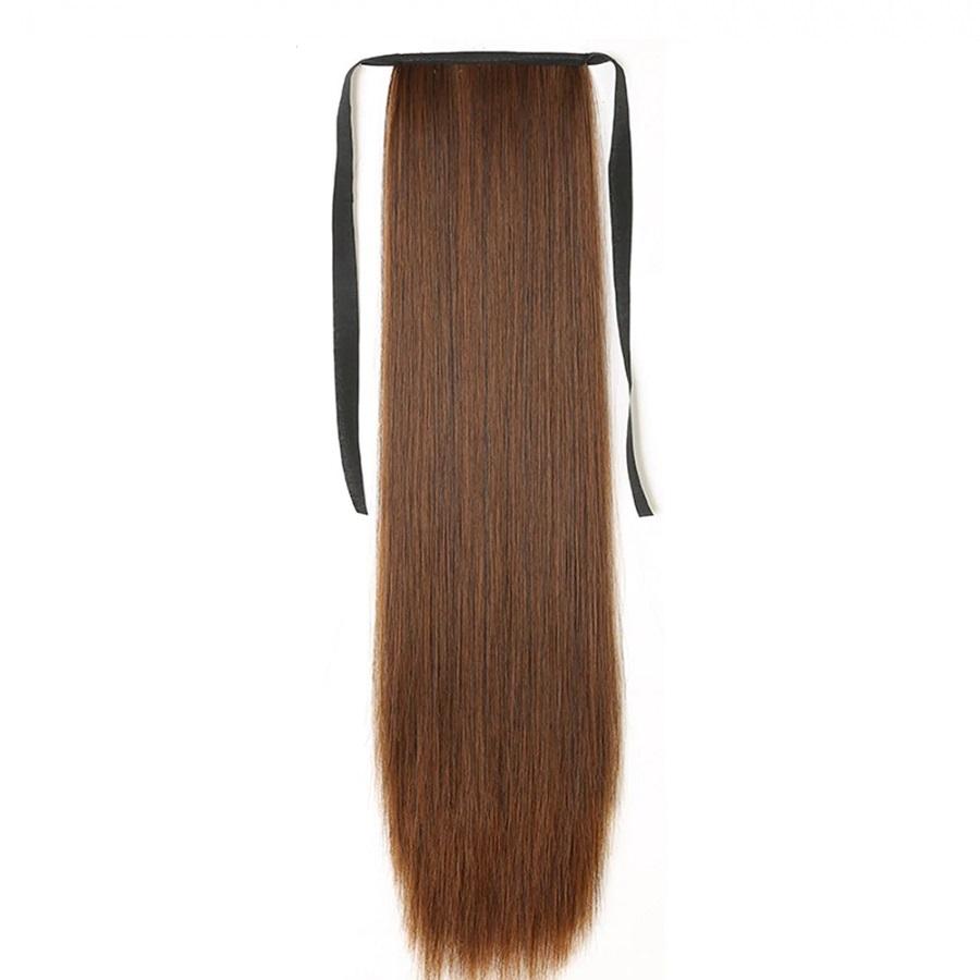 Опашка прав косъм с лента - светло кестеняво