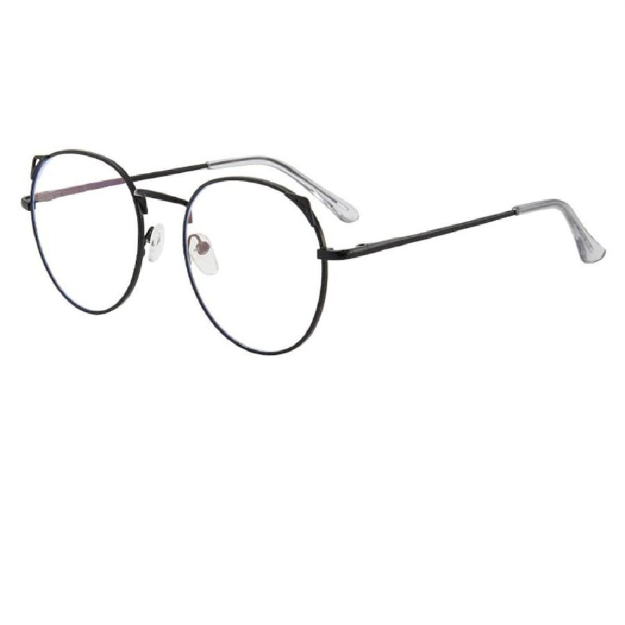 Прозрачни черни котешки очила с кръгъл дизайн