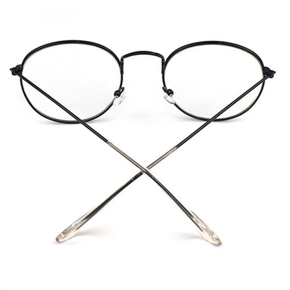 Прозрачни овални очила черни рамки