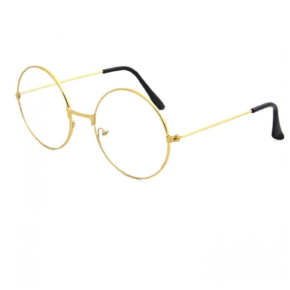 Жълти очила с прозрачни стъкла кръгли рамки