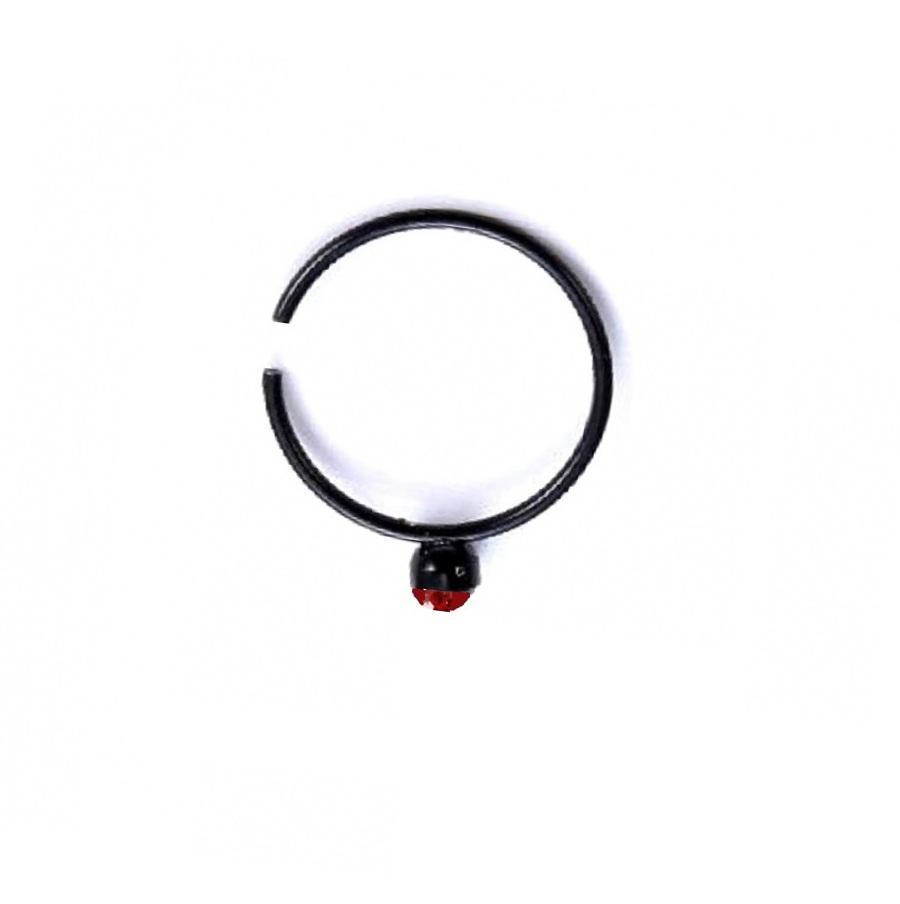 Черна халка с червен кристал обица за ухо или устна
