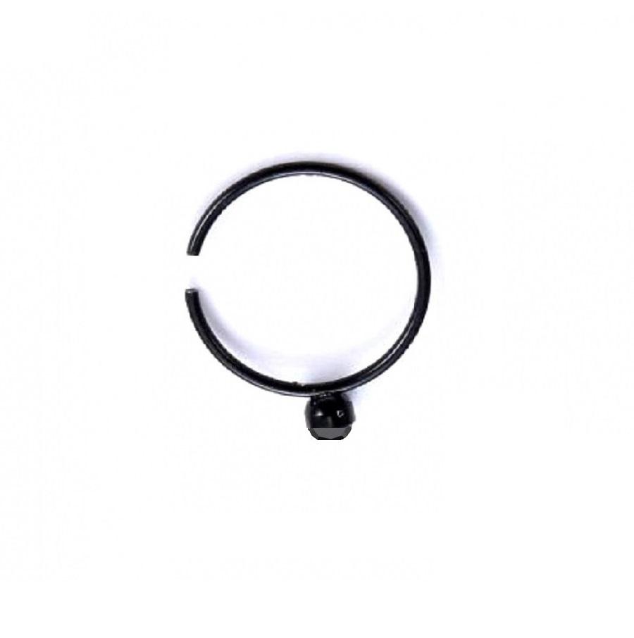 Черна обица за нос или устна с черен кристал