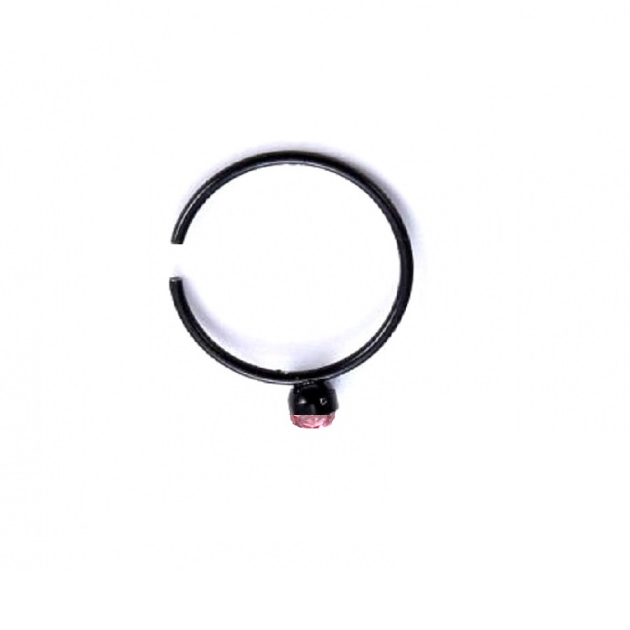 Черна обица за нос или устна с розов кристал