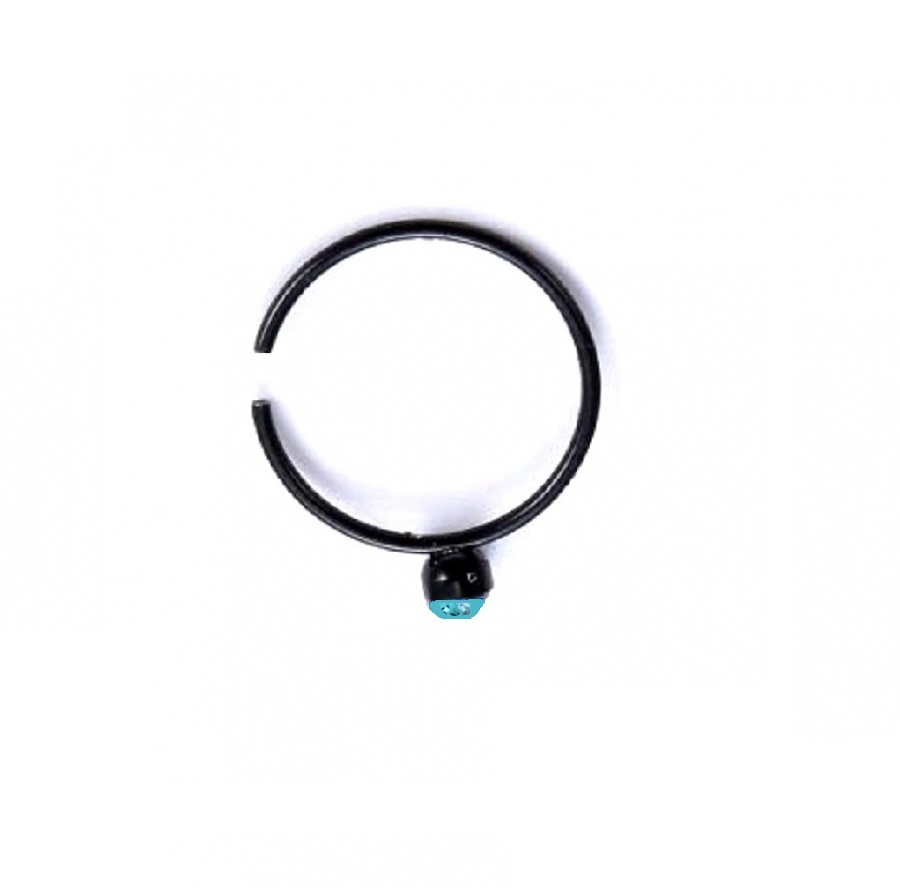 Черна обица за носа със светло син кристал