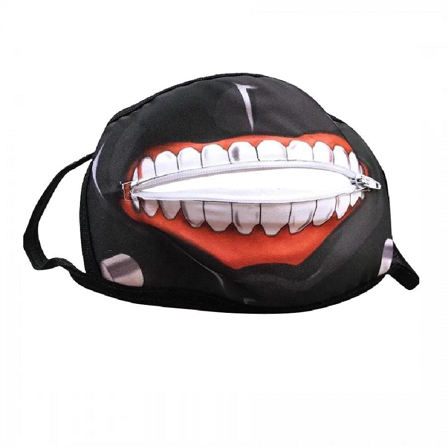 Черна маска уста с цип