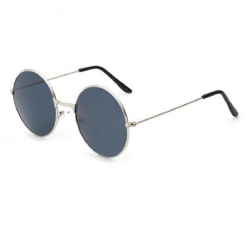 Кръгли очила черни стъкла бели рамки